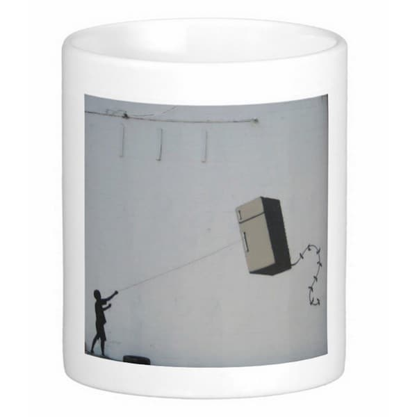 'Fridge Kite' New Orleans Banksy Art Coffee Mug