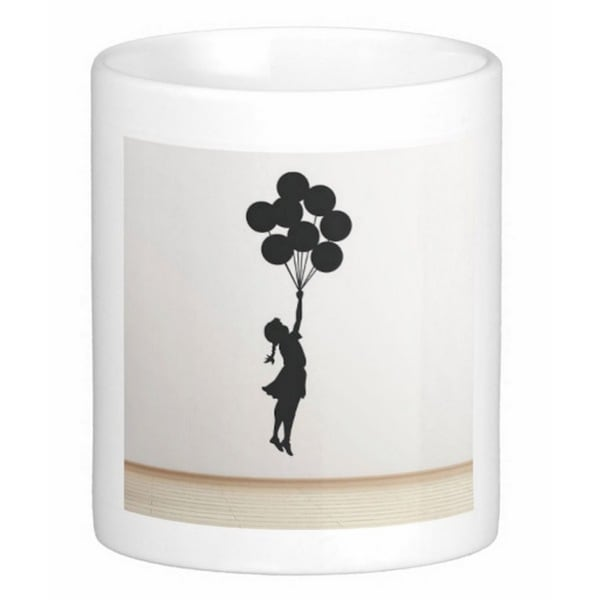 'Flying Balloon Girl' Israel Banksy Art Coffee Mug
