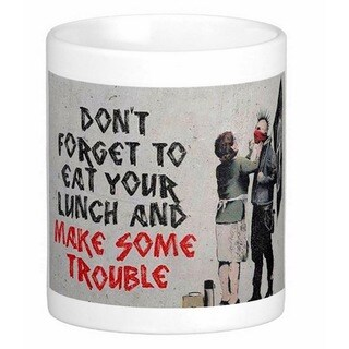 'Don't Forget Your Lunch' Banksy Art Coffee Mug