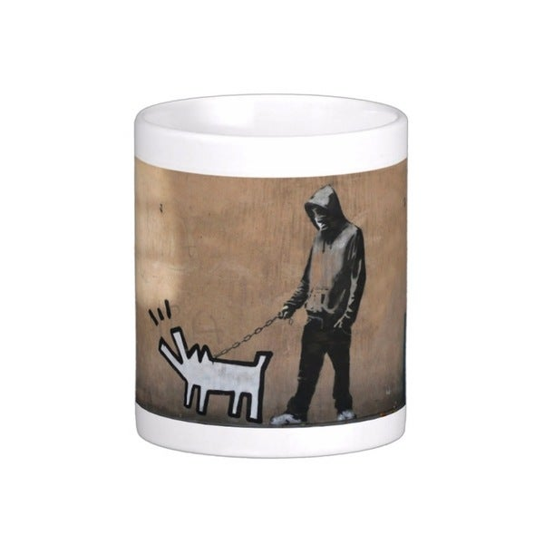 'Choose Your Weapon Dog' London Banksy Art Coffee Mug