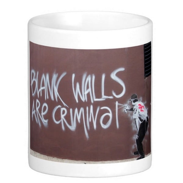 'Blank Walls Are Criminal' Melbourne Banksy Art Coffee Mug