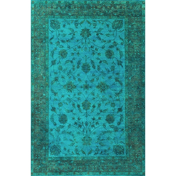 ABC Accents Traditional Overdyed Light Blue Wool Rug