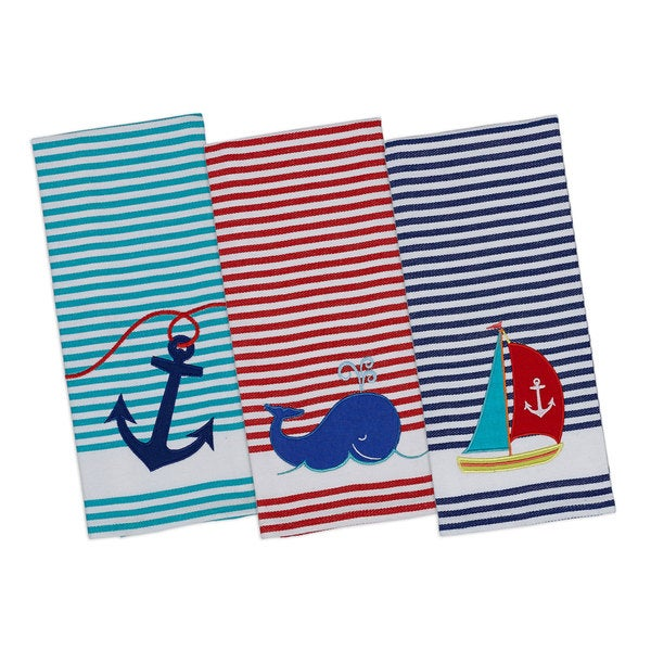 Anchor Away Embellished Dishtowel (Set of 3)