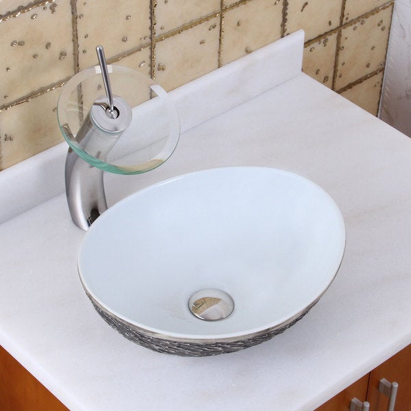 ELITE 1574+F22T Oval Grey / White Porcelain Ceramic Bathroom Vessel Sink Waterfall Faucet Combo