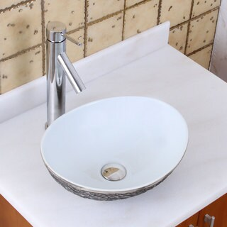 Elite 1574+2659 Oval Grey / White Porcelain Ceramic Bathroom Vessel Sink with Faucet Combo