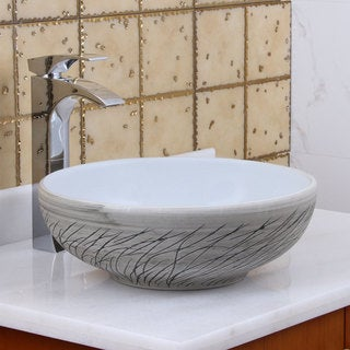 Elite 1575 Round White / grey Willow Porcelain Ceramic Bathroom Vessel Sink