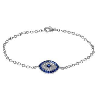 Journee Collection Metal Cubic Zirconia Evil Eye Bracelet