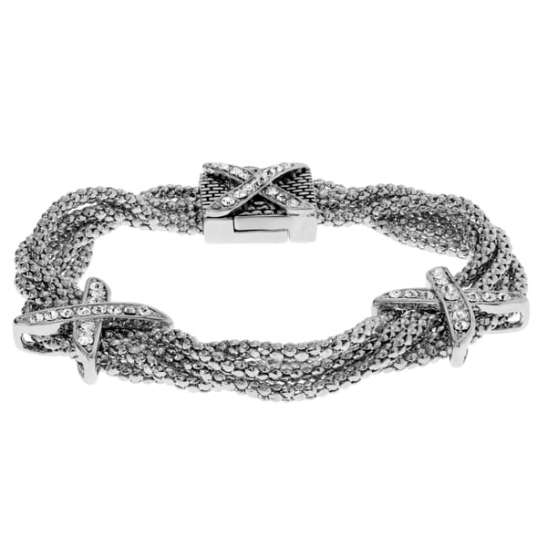 Journee Collection Metal Cubic Zirconia X Multi-chain Bracelet