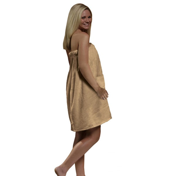 Women's Tan Spa and Bath Terry Cloth Towel Wrap
