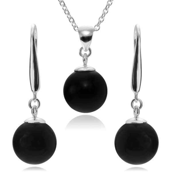 Journee Collection Sterling Silver Stone Necklace and Earring Set