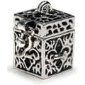 Prayer Box Metal Charm 1/PkgAntique Silver Fleur De Lis