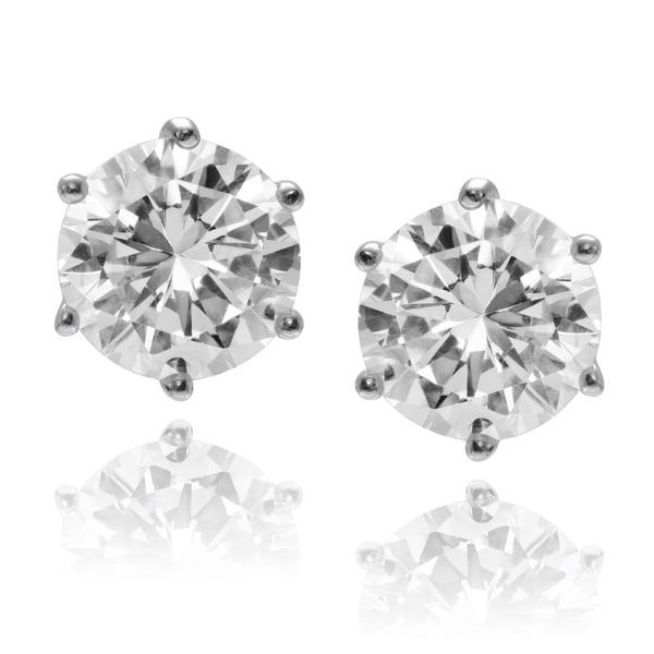 Journee Collection Rhodium-plated Sterling Silver Round CZ Stud Earring