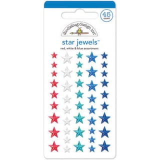 Stars & Stripes Adhesive JewelsStar/Red, White & Blue