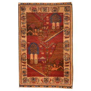 Herat Oriental Afghan Hand-knotted Tribal Balouchi Brown/ Beige Wool Rug (3' x 4'7)