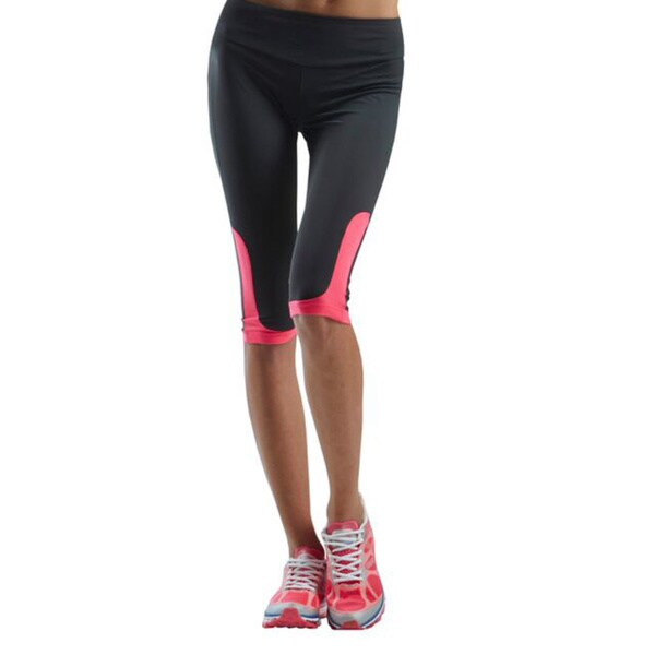 Women's Charcoal and Pink Active Wear Capri Leggings