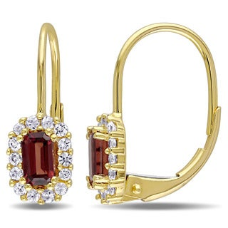 Miadora 10k Yellow Gold Garnet and White Sapphire Children`s Dangle Earrings
