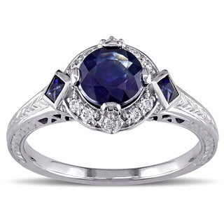 Miadora Signature Collection 14k White Gold Sapphire and 1/6ct TDW Diamond Ring (G-H, SI1-SI2)