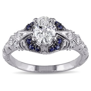 Miadora Signature Collection 14k White Gold Sapphire and 4/5ct TDW Diamond Engagement Ring (G-H,I1-I2)