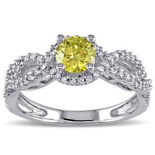 Miadora Signature Collection 10k White Gold 3/4ct TDW Yellow and White Diamond Ring (G-H, I2-I3)