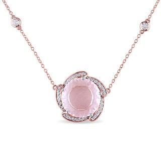 Miadora Rose Plated Silver Rose Quartz and White Topaz Necklace