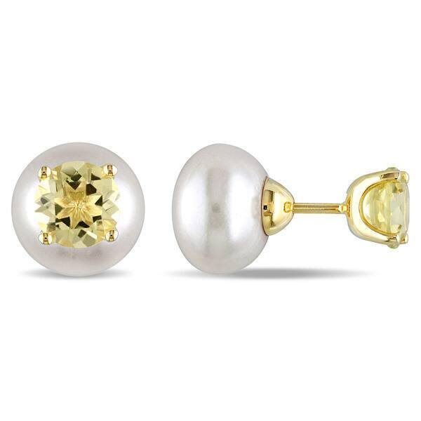 Miadora Yellow Silver Freshwater White Pearl and Lemon Quartz Earrings