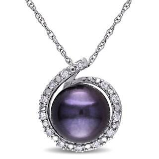 Miadora 10k White Gold Freshwater Black Pearl and Diamond Accent Necklace