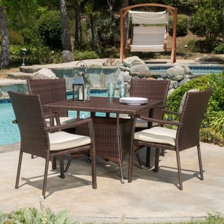 Christopher Knight Home Campbell Outdoor 5-piece Wicker Dining Set with Cushions