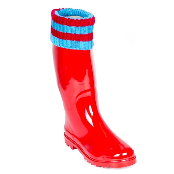 Women's Rubber Rain Boots Tall Red with Red and Blue Mock-Sock