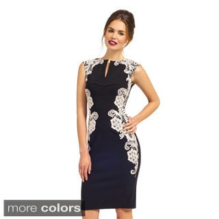 London Dress Company women's Mirrored Lace Bodycon Dress Featuring a V-Neckline
