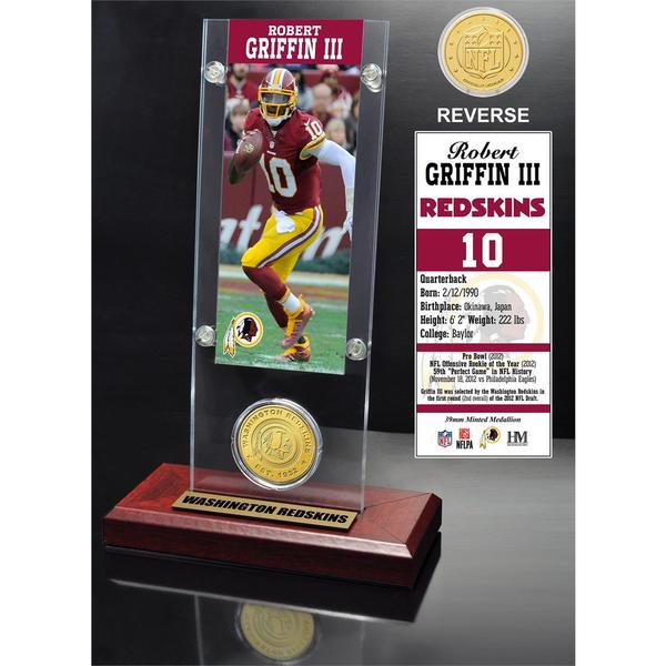 Robert Griffin III Ticket and Bronze Coin Acrylic Desk Top