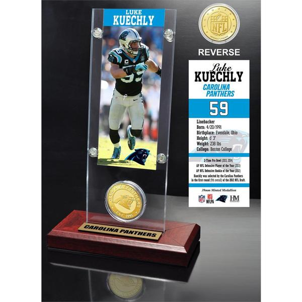Luke Kuechly Ticket and Bronze Coin Acrylic Desk Top