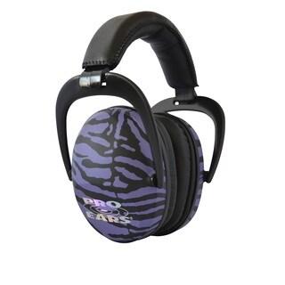 Pro Ears NRR 26 Ultra Sleek Hearing Protection Purple Zebra Ear Muffs