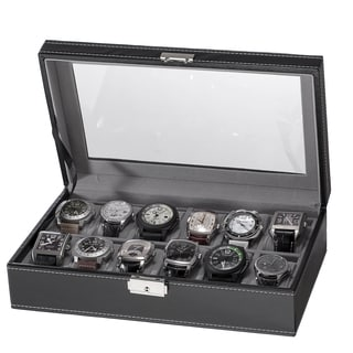 PU Leather 12-slot Black Watch Box