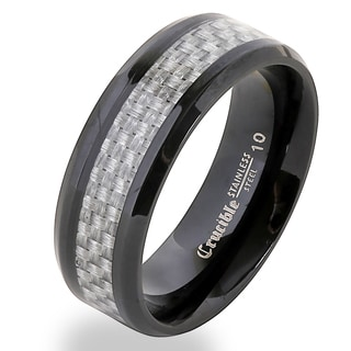 Crucible Blackplated Stainless Steel Carbon Fiber Band Ring