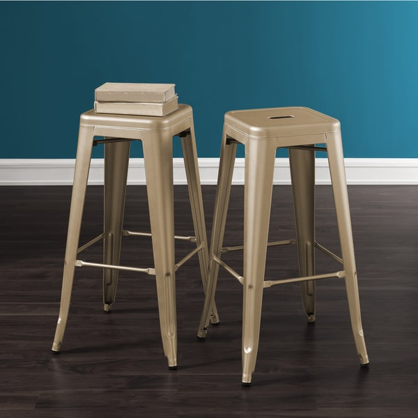 Tabouret 30-inch Champagne Metal Bar Stools (Set of 2)