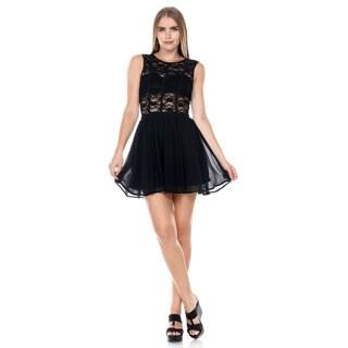 Stanzino Women's Sleeveless Lace A line Dress