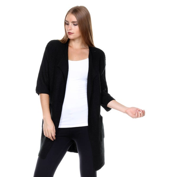 Stanzino Women's Oversized Black Knit Cardigan