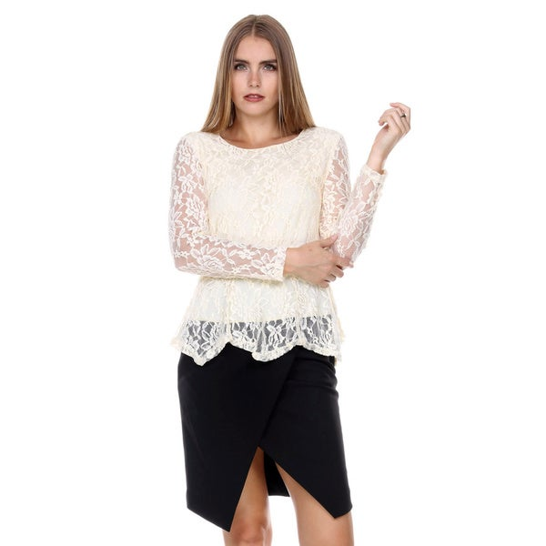 Stanzino Women's Long Sleeve Lace Peplum Top