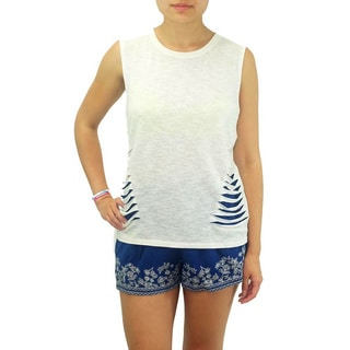 Relished Women's Contemporary Ivory Heather Slashed Muscle Tank