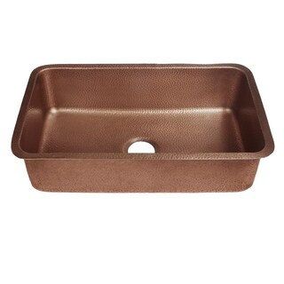 Sinkology Orwell Undermount Handmade Solid Copper 30-inch Single Bowl Kitchen Sink in Antique Copper