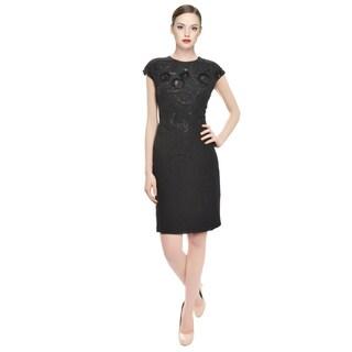 Emanuel Ungaro Black Swirl Beaded Silk Cocktail Evening Dress