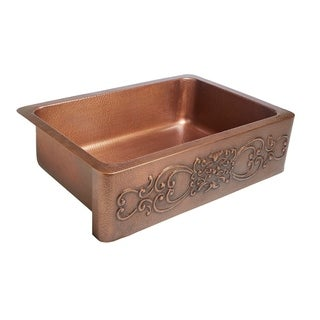 Sinkology Ganku Farmhouse Apron Front Handmade Pure Copper 33-inch Single Bowl Copper Kitchen Sink with Scroll Design