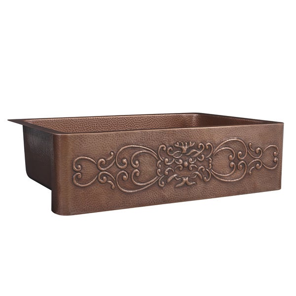 Pure Copper 33 inch Single Bowl Copper Kitchen Sink with Scroll Design