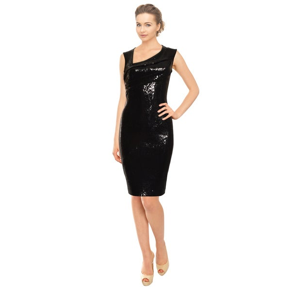 Donna Karan Black Asymmetric Sequin Pleated Cocktail Evening Dress