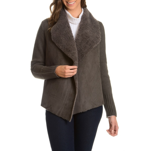 Chelsea and Theodore Women's Knit Faux Suede and Faux Fur Jacket