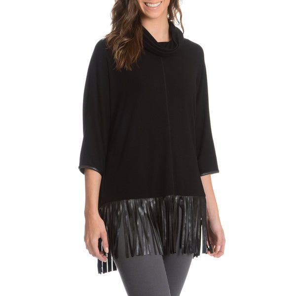 Chelsea and Theodore Women's Fringe Hem Knit Top