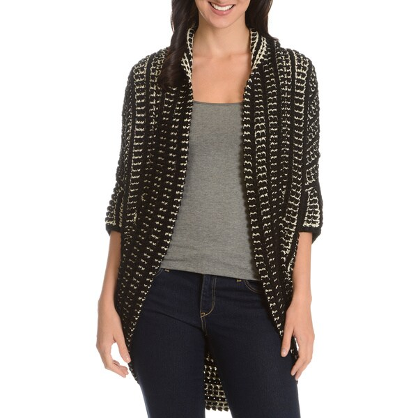 Chelsea and Theodore Women's Two-tone Cocoon Cardigan