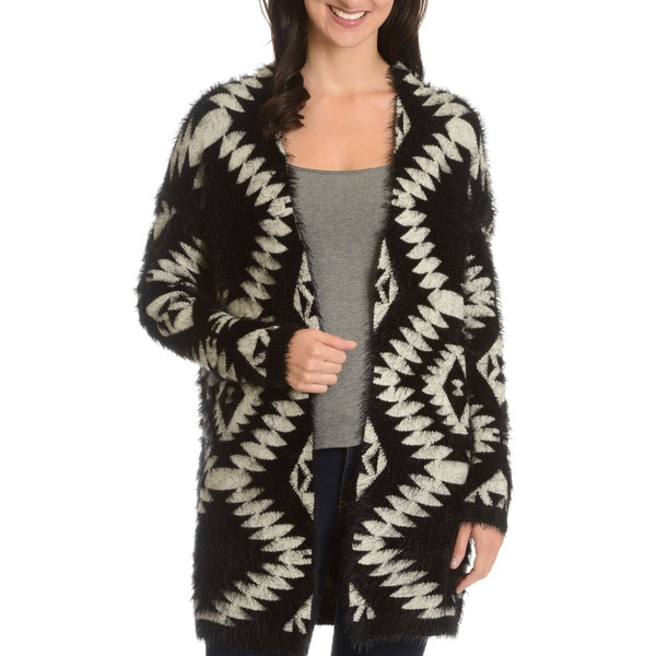 Chelsea and Theodore Women's Tribal Eyelash Knit Cardigan