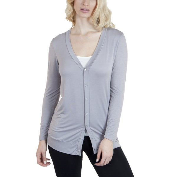 Agiato Apparel Modern Knit Button Front Long Cardigan