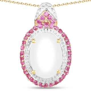 Olivia Leone 14k Yellow Goldplated .925 Sterling Silver 7ct Genuine Opal and Created Ruby Oval Shape Pend